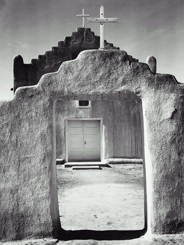 """Church, Taos Pueblo""  By Ansel Adams, New Mexico, 1942  National Archives and Records Administration, Records of the National Park Service"