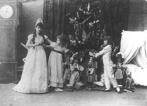 Stanislava Belinskaya as Clara, an unknown performer and Vassily Stulkolin as Fritz in the original production of The Nutcracker. Imperial Mariinsky Theatre, St. Petersburg, 1892