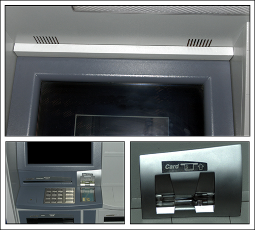 Skimming typically involves the use of a hidden cameras (top) to record customers' PINs, and phony keypads (right) placed over real keypads to record keystrokes.
