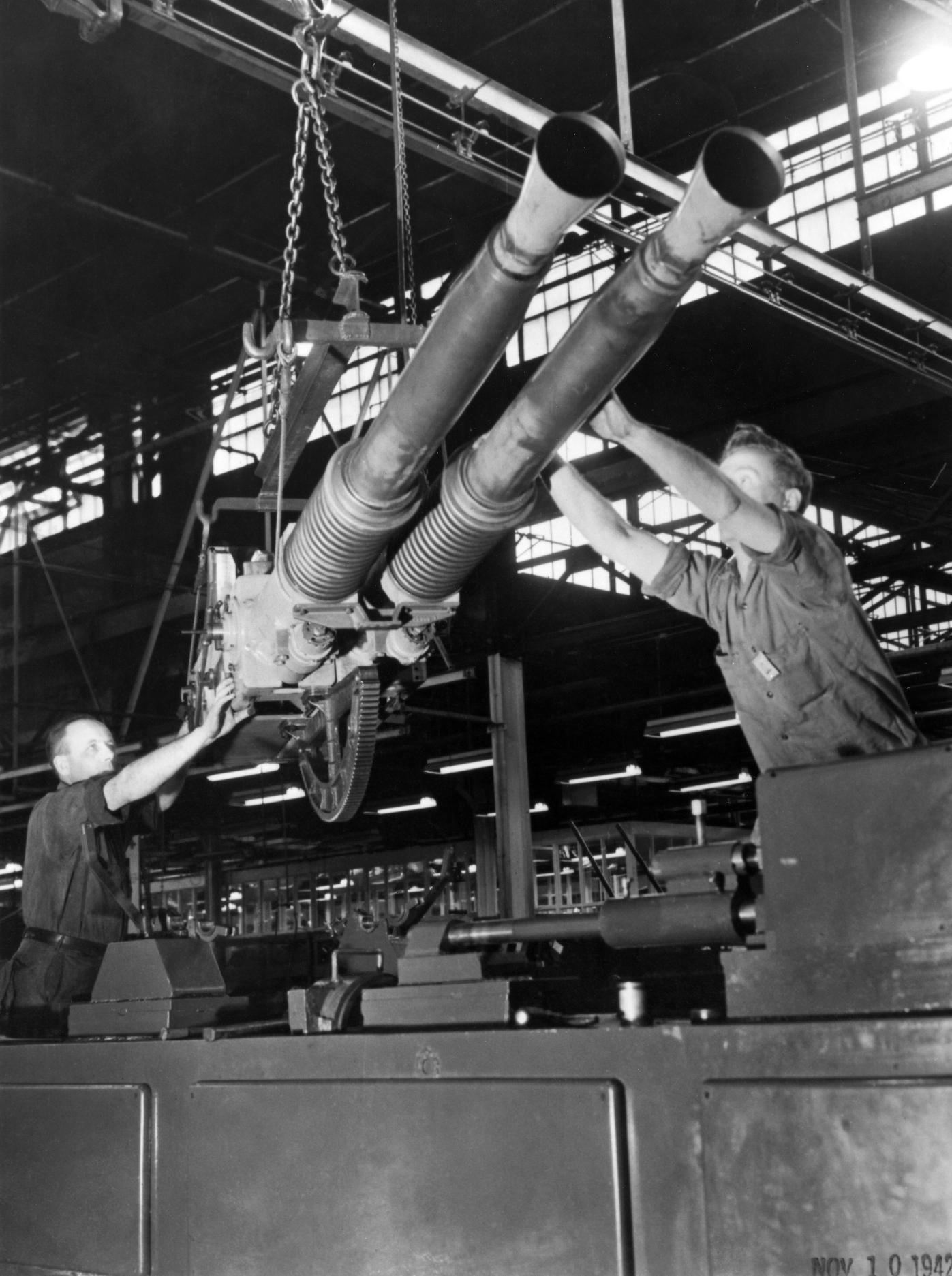 On February 4, 1942, a little more than a year after the original contract award, the first mass-produced Bofors antiaircraft guns came off Chrysler's assembly lines.